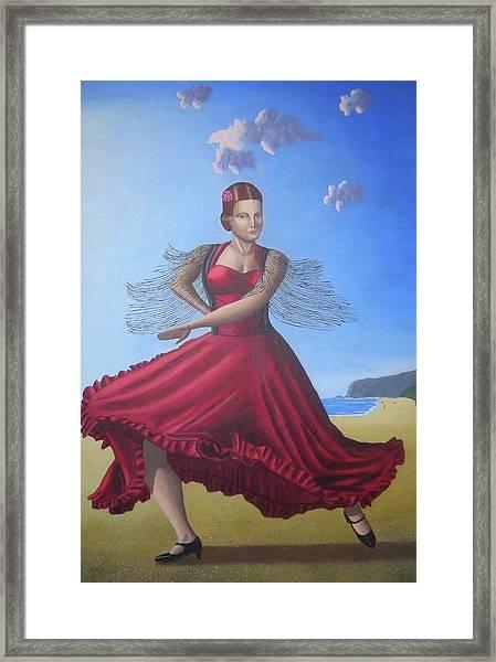 Painting Artwork Flamenco Dancing In Seville Beach  Framed Print by Luigi Carlo