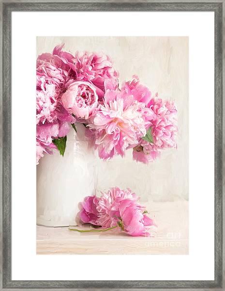 Painting Of Pink Peonies In Vase/digital Painting   Framed Print