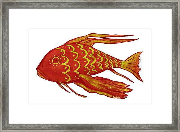 Painting Red Fish Framed Print