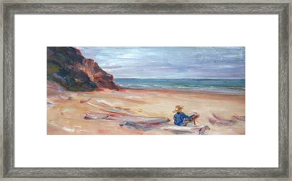 Painting The Coast - Scenic Landscape With Figure Framed Print