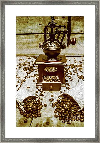Pair Coffee Bean Bags Spilled In Front Of Grinder Framed Print