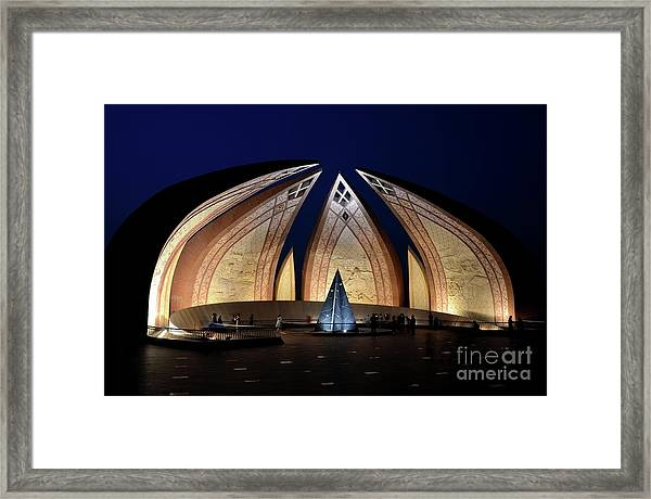 Pakistan Monument Illuminated At Night Islamabad Pakistan Framed Print