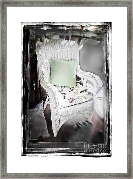 Pale Green Pillow Chair Framed Print