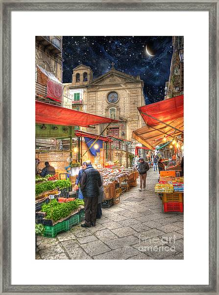 Palermo Market Place Framed Print