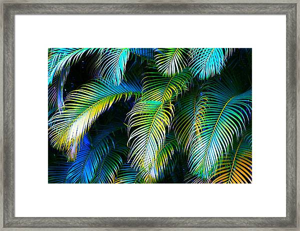 Palm Leaves In Blue Framed Print