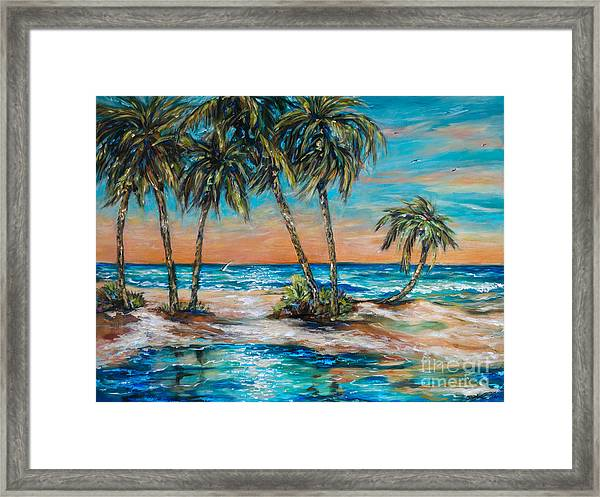 Palm Reflection Lagoon Framed Print