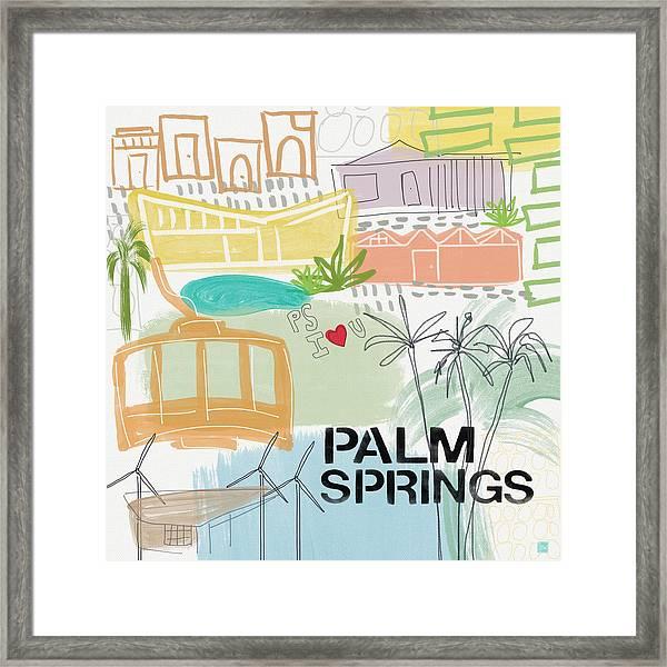 Palm Springs Cityscape- Art By Linda Woods Framed Print