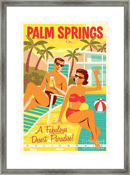 Palm Springs Poster - Retro Travel Framed Print