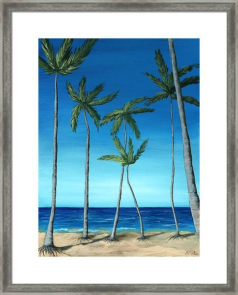 Palm Trees On Blue Framed Print