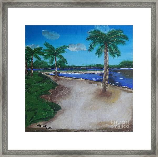 Palm Trees On The Beach Framed Print