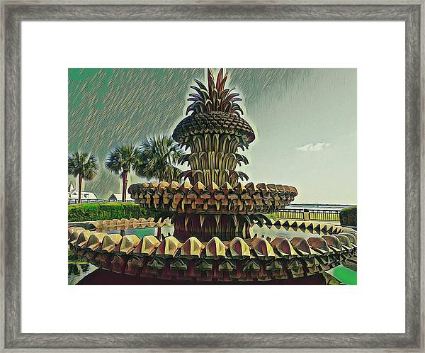 Palms And Pineapples Framed Print