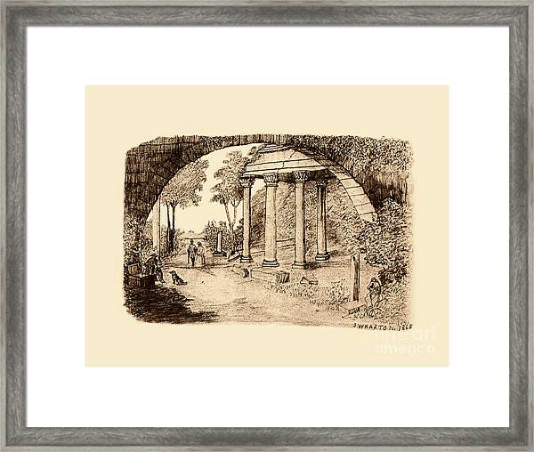 Pan Looking Upon Ruins Framed Print
