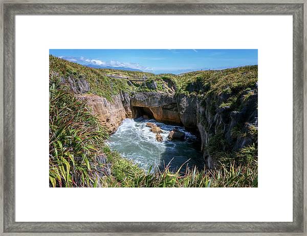 Pancake Rocks New Zealand Framed Print