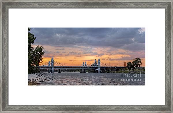 Panorama Of I-35 Jack Kultgen Highway Bridges At Sunset From The Brazos Riverwalk - Waco Texas Framed Print