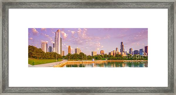 Panorama Of South Side Of Chicago Skyline And One Museum Park From Shedd Aquarium - Chicago Illinois Framed Print