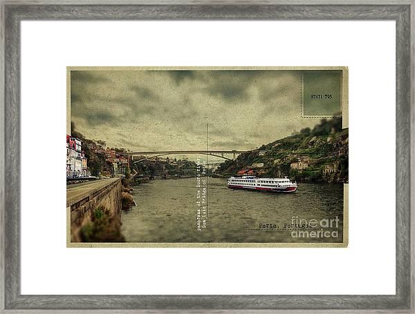 panorama of the Douro river, Dom Luiz Bridge of  Porto, Portugal Framed Print