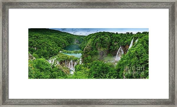 Panorama Of Turquoise Lakes And Waterfalls - A Dramatic View, Plitivice Lakes National Park Croatia Framed Print