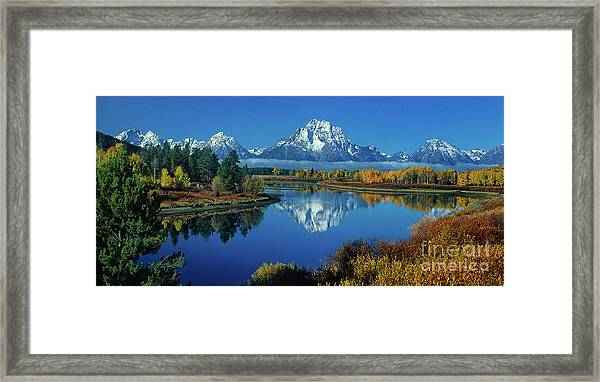 Panorama Oxbow Bend Grand Tetons National Park Wyoming Framed Print