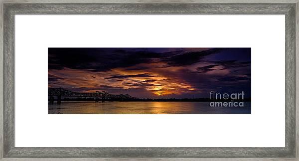 Panoramic Sunset At Natchez Framed Print