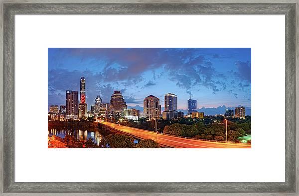 Panoramic Twilight View Of Downtown Austin Skyline And Congress Avenue Bridge - Travis County Texas  Framed Print