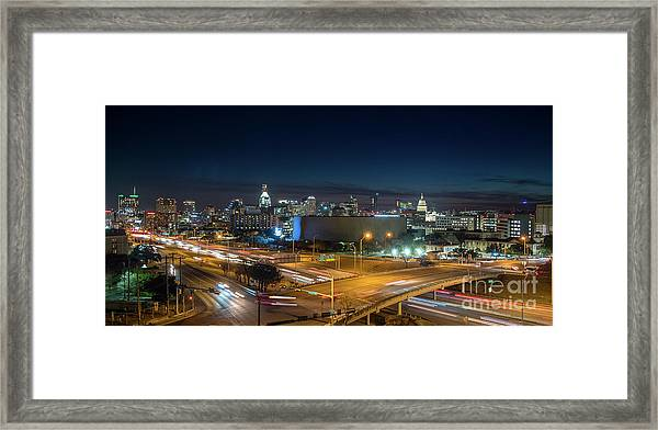 Panoramic View Of Busy Austin Texas Downtown Framed Print