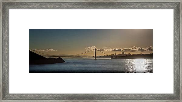 Panoramic View Of Downtown San Francisco Behind The Golden Gate  Framed Print