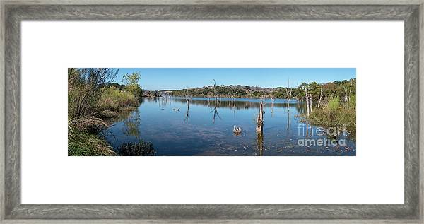 Panoramic View Of Large Lake With Grass On The Shore Framed Print
