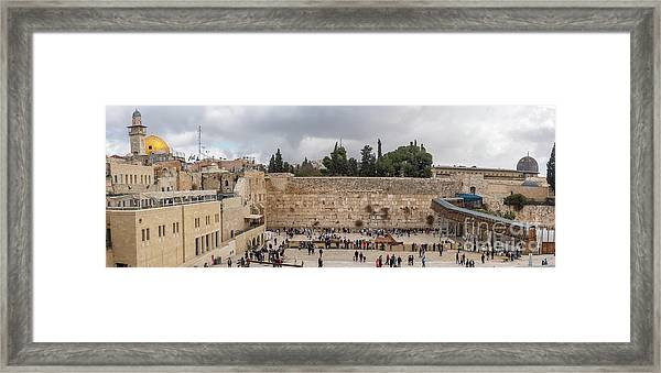 Panoramic View Of The Wailing Wall In The Old City Of Jerusalem Framed Print