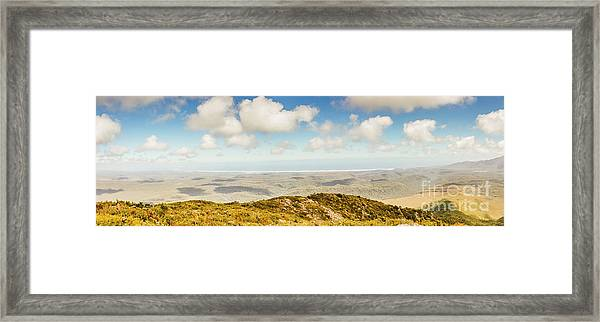 Panoramic Views From Mount Zeehan To Trial Harbour Framed Print
