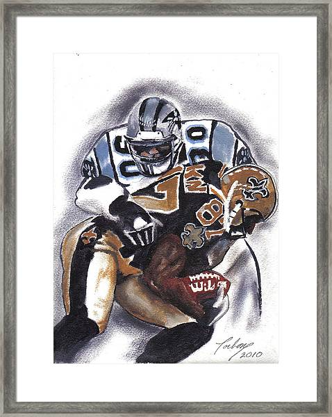 Panthers Vs Saints Framed Print by Torben Gray