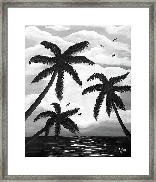 Paradise In Black And White Framed Print
