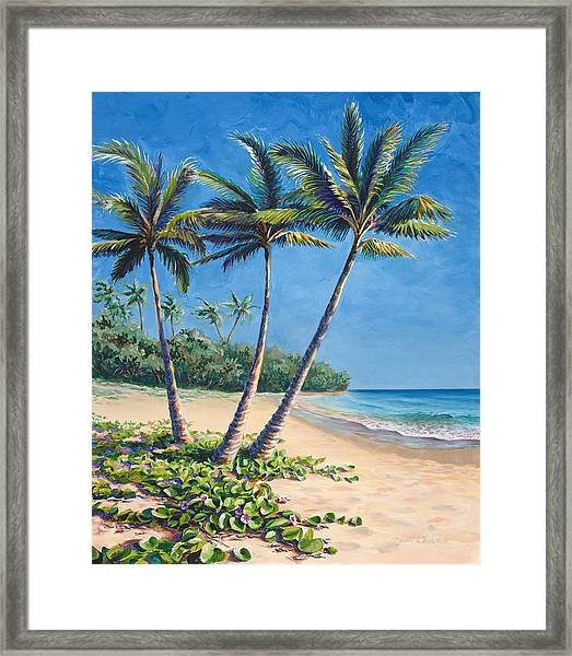 Tropical Paradise Landscape - Hawaii Beach And Palms Painting Framed Print