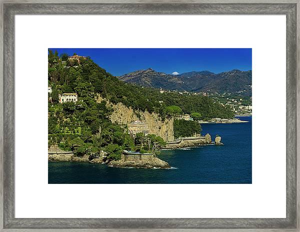Paraggi Bay Castle And Liguria Mountains Portofino Park  Framed Print