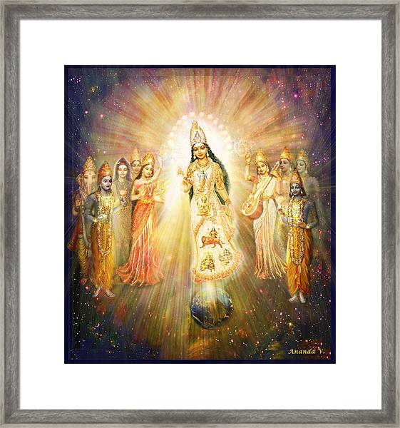 Parashakti Devi - The Great Goddess In Space Framed Print