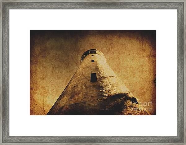 Parchment Paper Lighthouse Framed Print