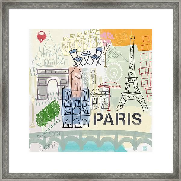 Paris Cityscape- Art By Linda Woods Framed Print