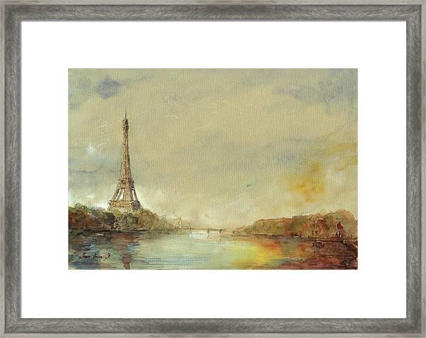 Paris Eiffel Tower Painting Framed Print