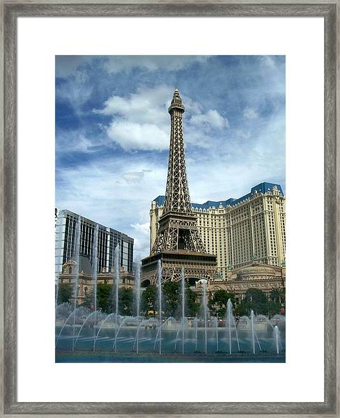 Paris Hotel And Bellagio Fountains Framed Print