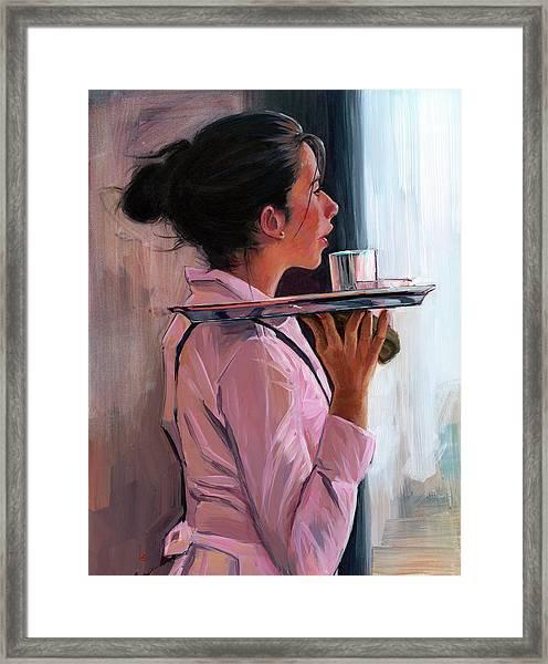 Parisian Waitress Framed Print