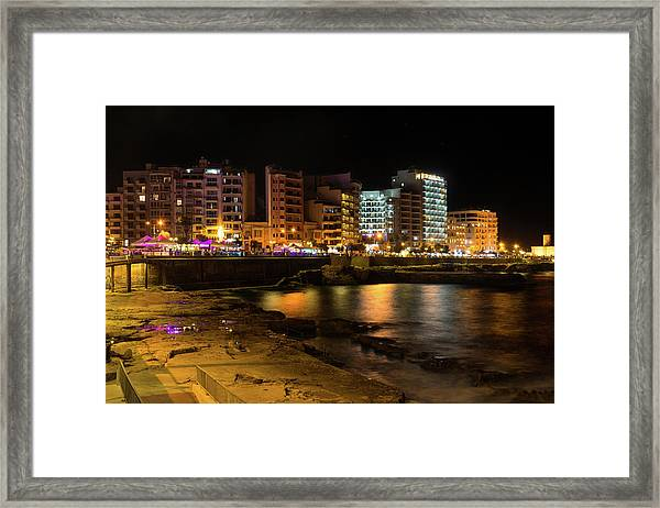 Particolored Midnight - Tower Road Waterfront In Sliema Malta Framed Print