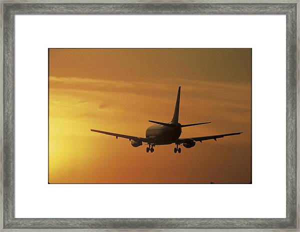 Passenger Plane Taking Off Lax Airport Framed Print