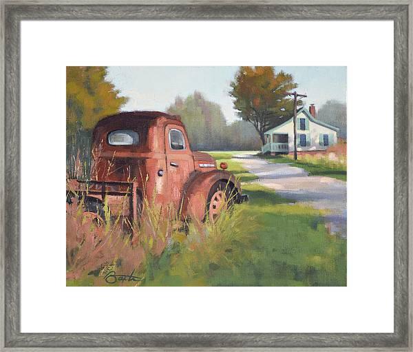 Passing Through Red Oak Framed Print