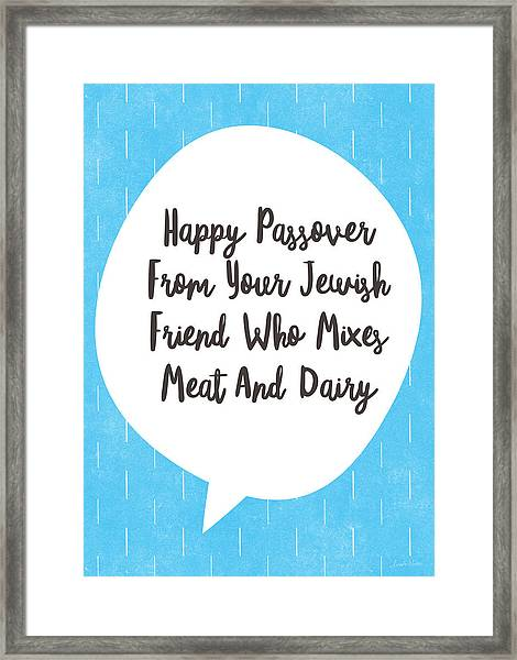 Passover Meat And Dairy Card- Art By Linda Woods Framed Print
