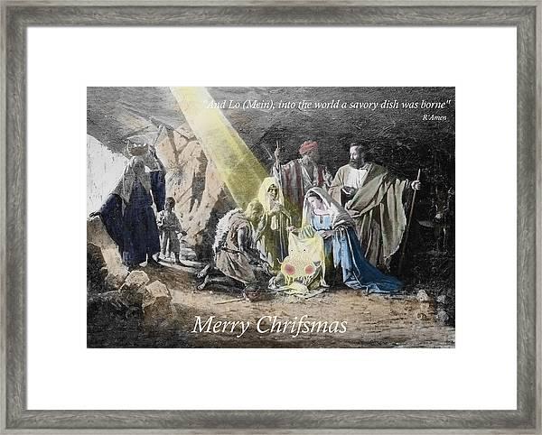 Pastafarian Merry Chrifsmas Scene Framed Print