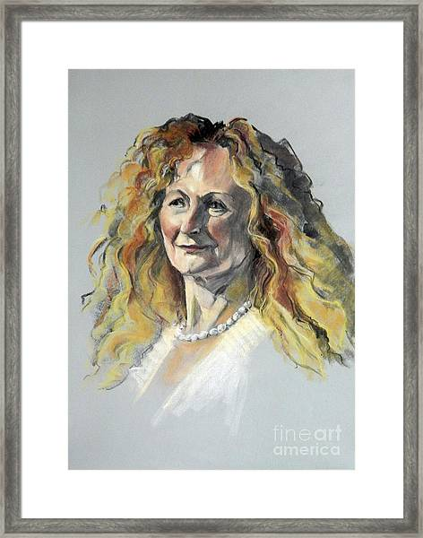 Pastel Portrait Of Woman With Frizzy Hair Framed Print