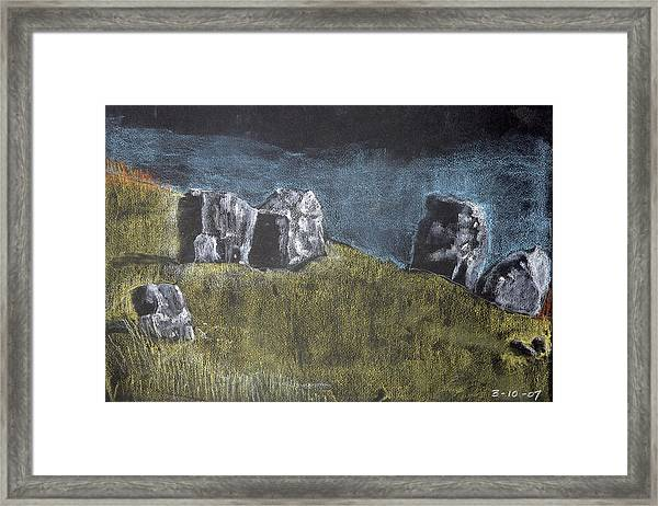 Pastel Stones On Black Framed Print