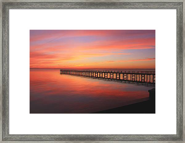 Pastels At The Hilton Fishing Pier  Framed Print