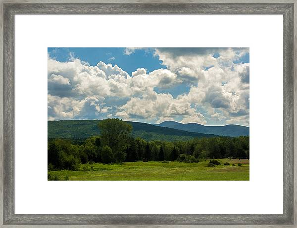 Pastoral Landscape With Mountains Framed Print