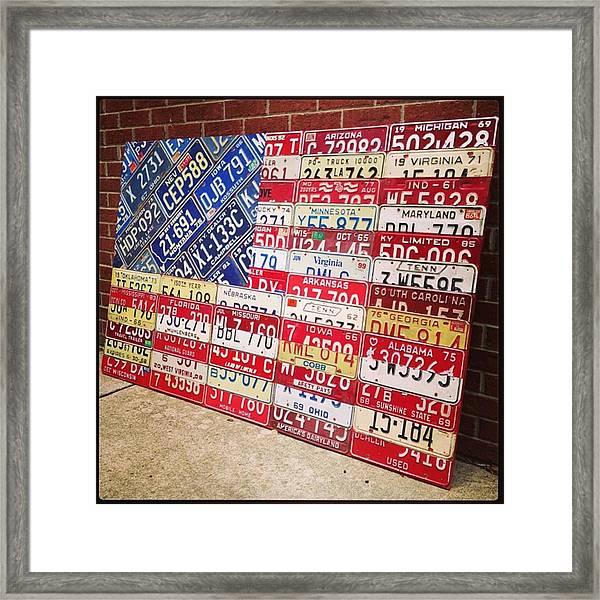 Patchwork #american #flag Finished - Framed Print
