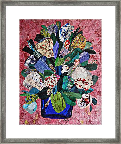 Patchwork Bouquet Framed Print